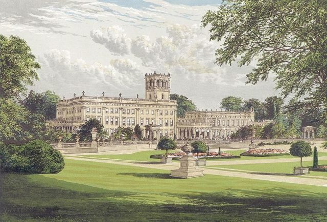 Trentham Hall and the original Italian Gardens c.1880. The Grand Entrance at the center of the building is dwarfed by the 100-foot clock tower behind it (also still standing) and the vast three-story wings.