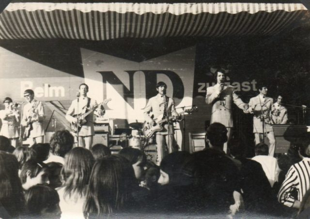"""Performers and visitors from the USSR also came to the festival. In the photo the popular Soviet band """"Singing Guitars."""" Source: Private Archive"""
