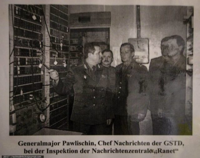 Commander of communications of the Western Group of Forces Major-General M. V. Pavlishin during an inspection of the Ranet bunker ©technolirik