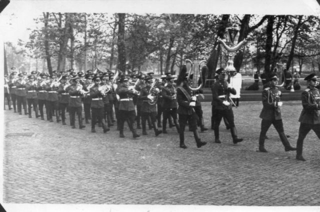 Orchestra of the 69th Regiment takes an active part in the wreath laying ceremony in Treptow Park on May 9. Source: Private Archive