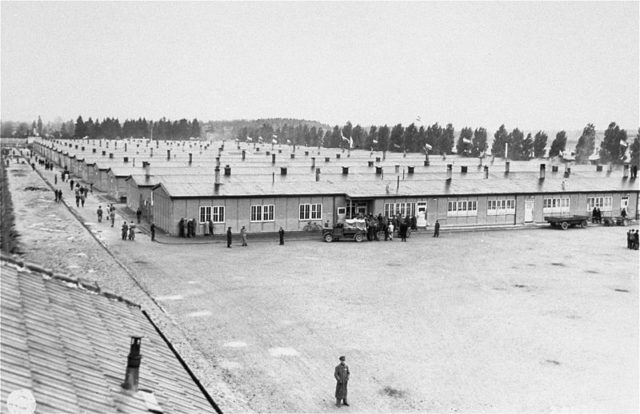 View of the prisoners' barracks. Photo by 163rd Signal Photo Company