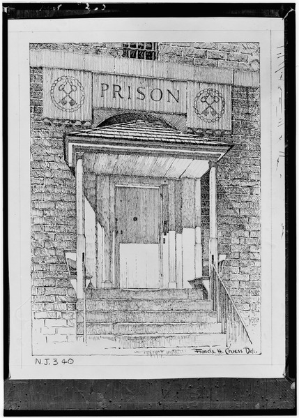 A drawing of the main entrance. Author:Library of Congress