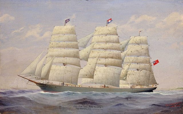 The Famous Tea Clipper Thermopylae by F. I. Sorensen.She is shown broadside-on in full sail flying the house flag of the Aberdeen White Star Line.