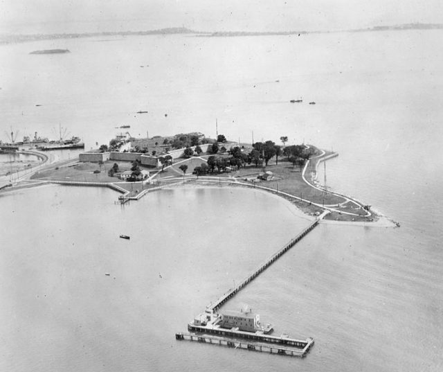 Aerial view of the island during WWII. Author: U.S. Department of the Navy