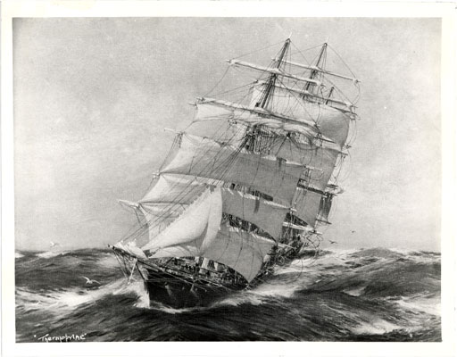 Thermopylae was designed for the China tea trade, and set speed records on her maiden voyage toMelbourne– 63 days via Shanghai and Foochow, still the fastest trip under sail.