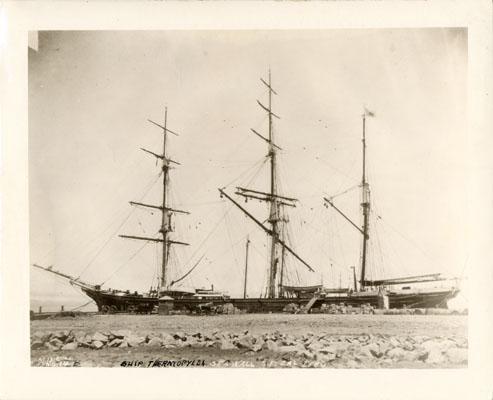 Thermopylae moored at the sea wall,San Francisco, California, 1880.