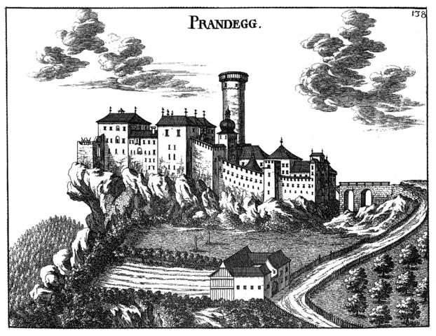 Engraving of the castle by Georg Matthäus Vischer, 1674.