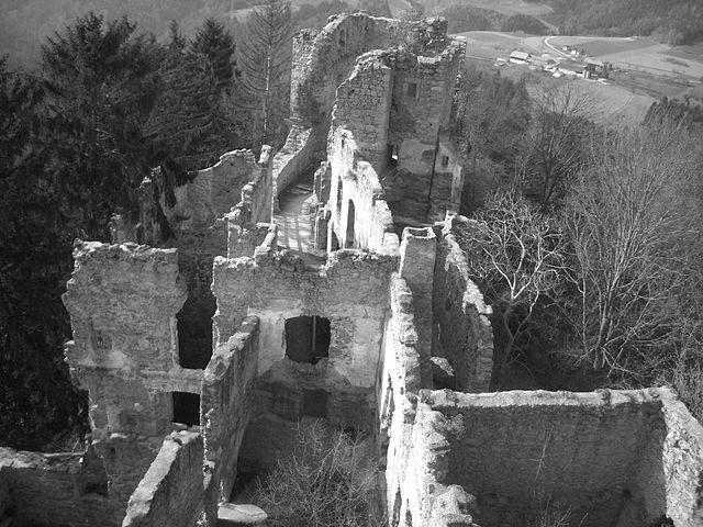 Ariel view of the ruined Prandegg Castle