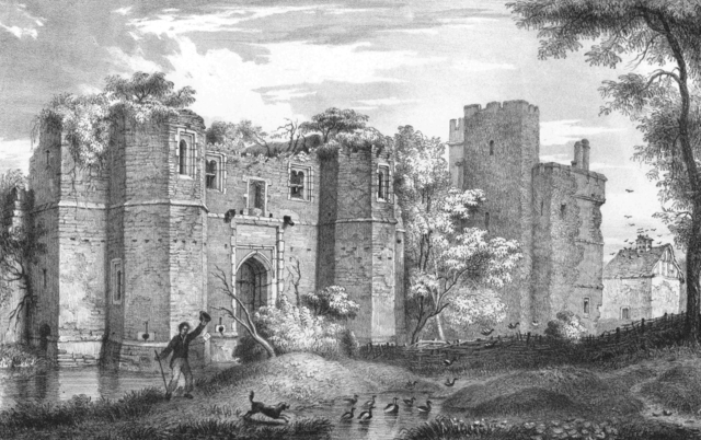 "The ruins of the castle depicted in 1826 by John Flower (1793 – 1861), who was locally known as ""the Leicester artist"""