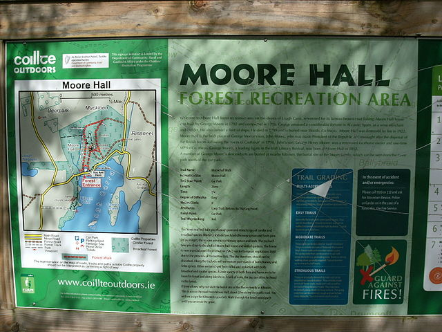 Information board at Moore Hall forest park.