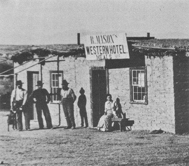 Photo of the hotel. Author:Scan from Ghost Towns of Arizona, by James E. and Barbara H. Sherman, page 41