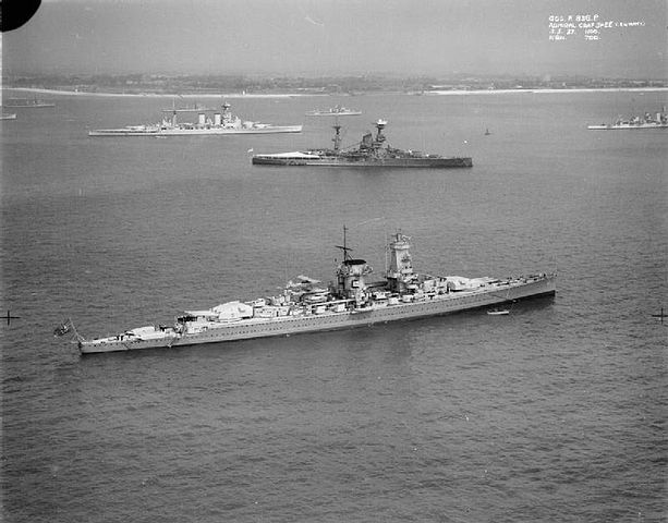 Admiral Graf Spee at Spithead in 1937; HMS Hood and Resolution are in the background