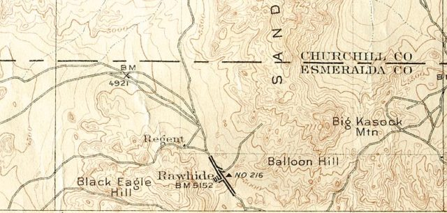 Detail from 1:250000 USGS map of Rawhide, then located in Esmeralda County, Nevada in 1910.