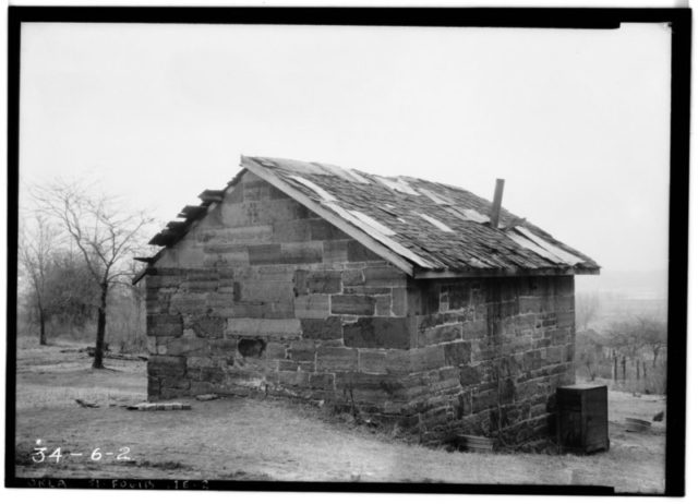 Fort Gibson, Powder Magazine, view from the northeast. Photographed by Fred Q. Casler, March 2, 1934. Historic American Buildings Survey, Library of Congress Prints and Photographs Division