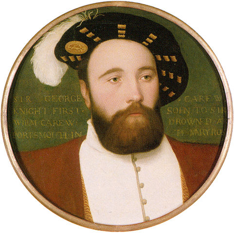 Vice-Admiral Sir George Carew, the Captain of Mary Rose, who died when the vessel sank – contemporary miniature by Hans Holbein the Younger.