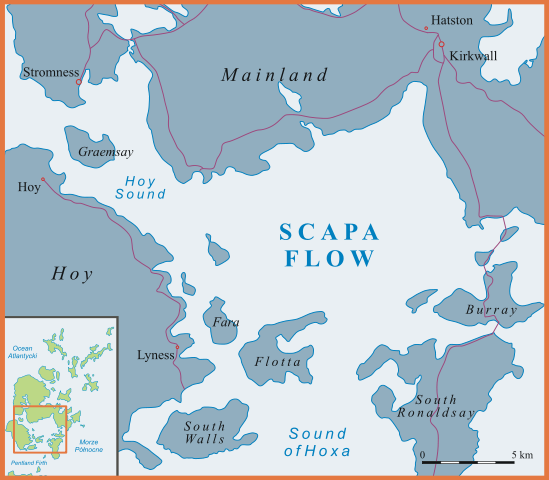 Location of Scapa Flow. Author: Siałababamak CC BY-SA 3.0