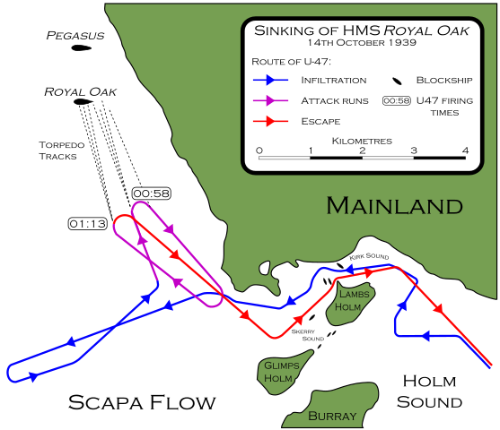 Map showing the route of U-47 infiltrating the defences of Scapa Flow. Author: BillC CC BY-SA 3.0