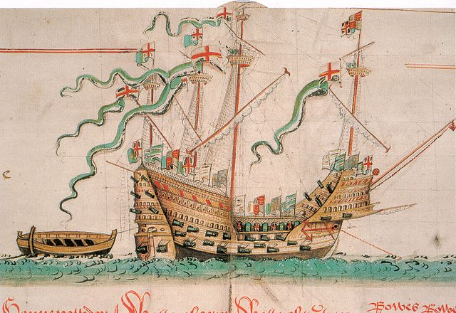 The Mary Rose as depicted in the Anthony Roll (a record of ships of the English Tudor navy of the 1540s) by Anthony Anthony.