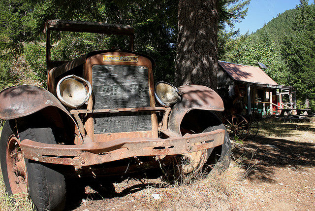 An old and abandoned vehicle. Author:U.S. Forest Service- Pacific Northwest Region