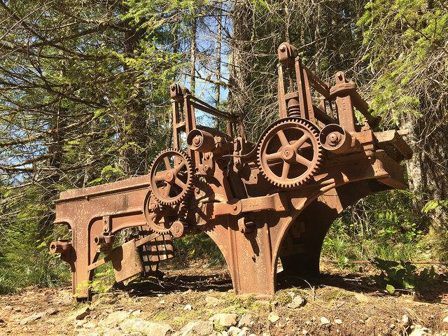 Some of the mining equipment. Author:U.S. Forest Service- Pacific Northwest Region