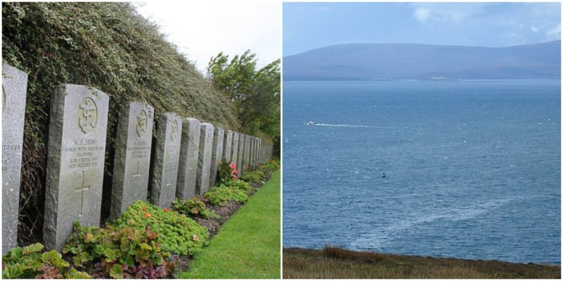 Left: Headstones for some of the crew of Royal Oak, Des Colhoun CC BY-SA 2.0. Right: Scapa Flow from Gaitnip cliffs, showing the wreck site of HMS Royal Oak marked by a green buoy, BillC CC BY-SA 3.0