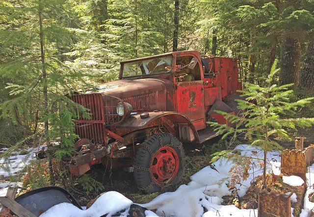 A rusty old truck – part of the mining equipment. Author:U.S. Forest Service- Pacific Northwest Region