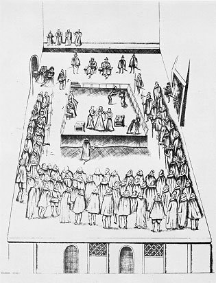 Sketch of the execution of Mary, Queen of Scots.