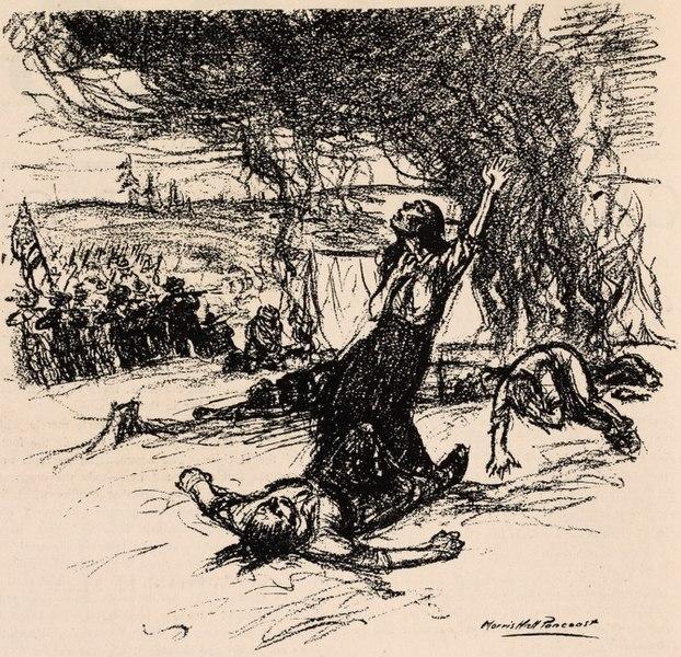 A sketch of the massacre. Author:Morris Hall Pancoast