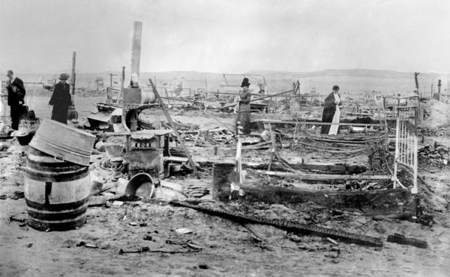 The camp after the attack. Author:Bain News Service