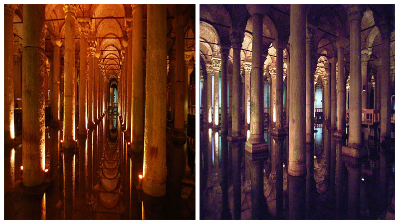 The impressive basilica columns. Left: Dpnuevo - CC BY-SA 3.0