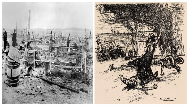 Left: The camp after the attack. Author: Bain News Service Right: A sketch of the massacre. Author: Morris Hall Pancoast