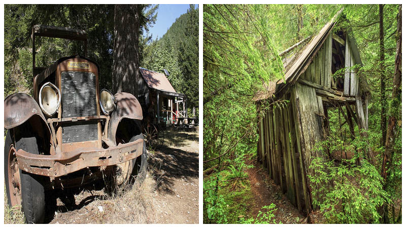 Left: An old and abandoned vehicle. Author:U.S. Forest Service- Pacific Northwest Region. Right: An old and long-forgotten building. Author:Ian Sane -CC BY 2.0