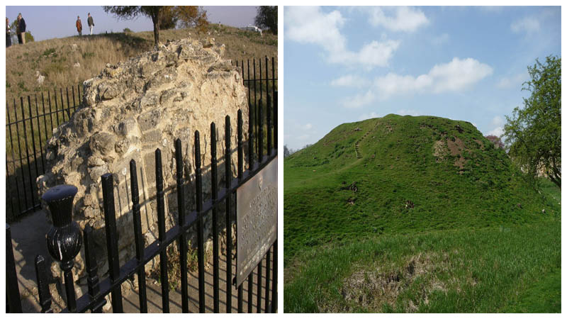 Left: The only remaining piece of masonry from the castle. Author:Kokai CC BY-SA 2.0 Right: The site of the motte and bailey castle Author:Iain Simpson CC BY-SA 2.0