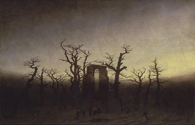 Abtei im Eichwald (1809/1810) shows the use of light and drama by Caspar David Friedrich