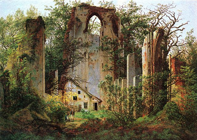 Ruined Monastery of Eldena near Greifswald by Caspar David Friedrich (1824/1825) has figures to show the huge scale of the building