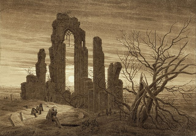 Winter – Night – Old Age and Death (from the times of day and ages of man cycle of 1803); Already in 1803 Frederick had used the ruin in an early version of his Seasons cycle for the Winter picture (Kupferstichkabinett, Staatliche Museen zu Berlin)