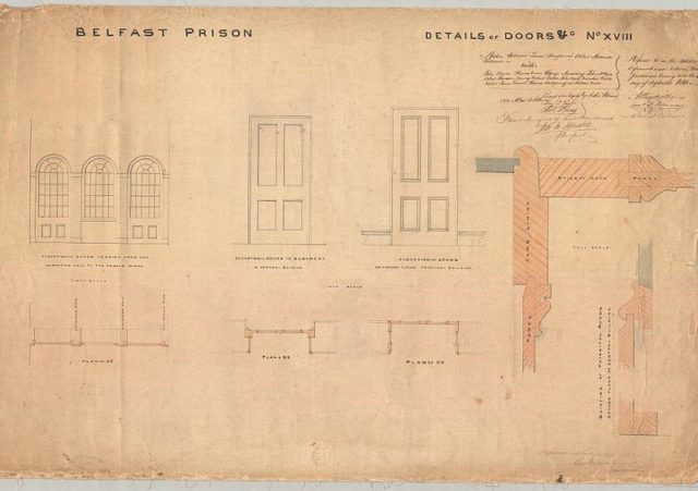 Plan showing details of doors, Belfast Gaol/Crumlin Road Prison – drawn by Sir Charles Lanyon c.1842. Courtesy Public Record Office of Northern Ireland