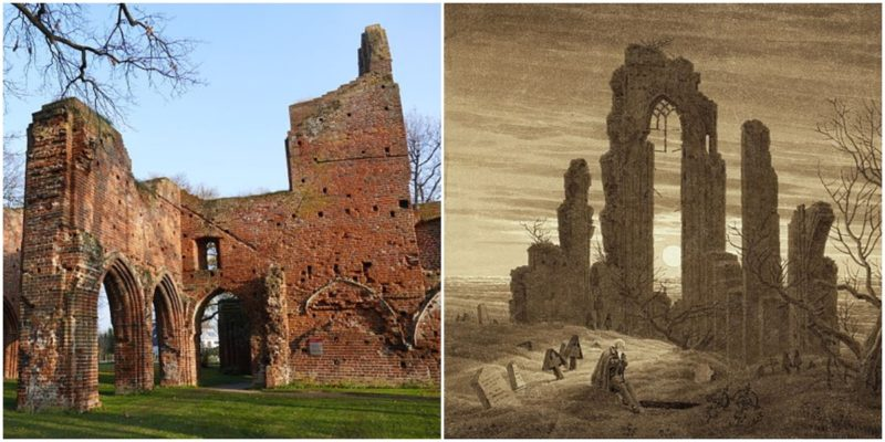 "Left: The east part of the transept. Author: Erell - CC BY-SA 3.0 Right: ""Winter – Night – Old Age and Death"" by Caspar David Friedrich"