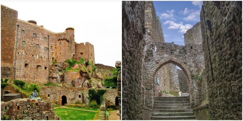 Left: The exterior of the castle, Photo by  INDIGO WOLFSBANE - CC BY 2.0 Right: Steps and the way out, Photo by: Peter - CC BY 2.0