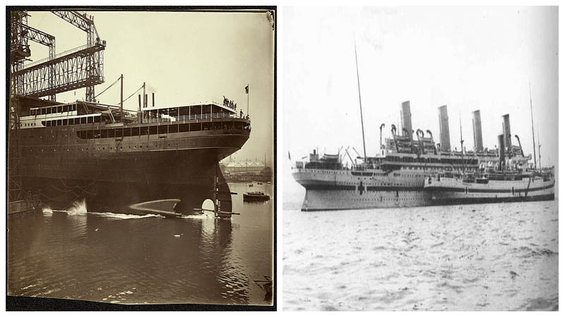 Left: Public Record Office of Northern Ireland. Right: Britannic together with HMHS Galeka. Author:UK army