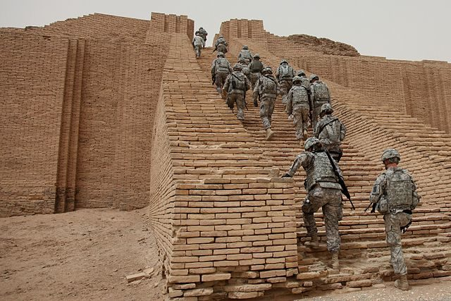 U.S. Soldiers from 17th Fires Brigade make their way up the Ziggurat of Ur, Iraq – Public Domain