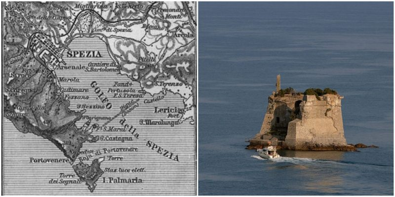 Left: A map of the Gulf of La Spezia from the late 19th century. Right: Battle damage. Author: Alessandro - CC BY 2.0
