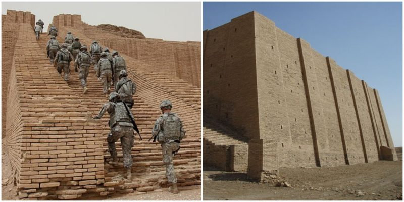 Left: U.S. Soldiers from 17th Fires Brigade make their way up the Ziggurat of Ur, Iraq. Right: Impressive side view. Kaufingdude - CC BY-SA 3.0