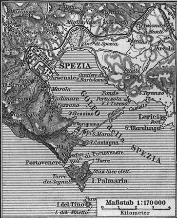 A map of the Gulf of La Spezia from the late 19th century