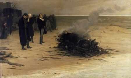 The Funeral of Shelley by Louis Édouard Fournier (1889). Pictured in the centre are, from left, Trelawny, Hunt, and Byron. Actually, Hunt did not watch the cremation, and Byron left early. Mary Shelley, who is pictured kneeling at left, did not attend the funeral according to customs at the time