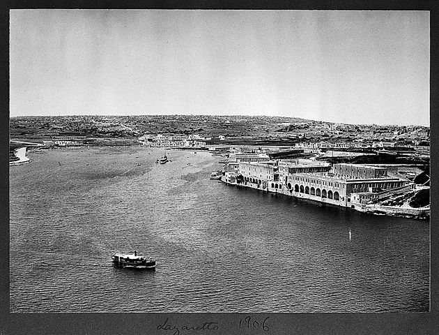 Views of the Lazzaretto complex from the bastions of Valletta in 1906