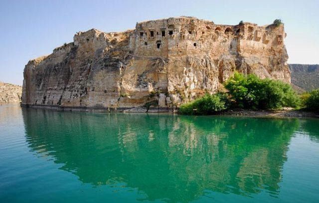 Drone Footage of An Ancient Fortress on the Euphrates Accessible Only by Boat