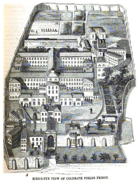 A general overview of the prison. Author: Google scan of 1864 book by Henry Mayhew & John Binny