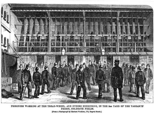 Prisoners working at the tread-wheel. Author: Google scan of 1864 book by Henry Mayhew & John Binny