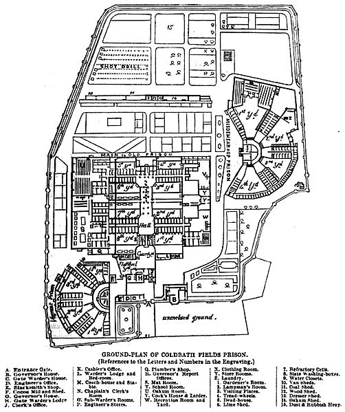 The blueprints of the prison. Author: Google scan of 1864 book by Henry Mayhew & John Binny